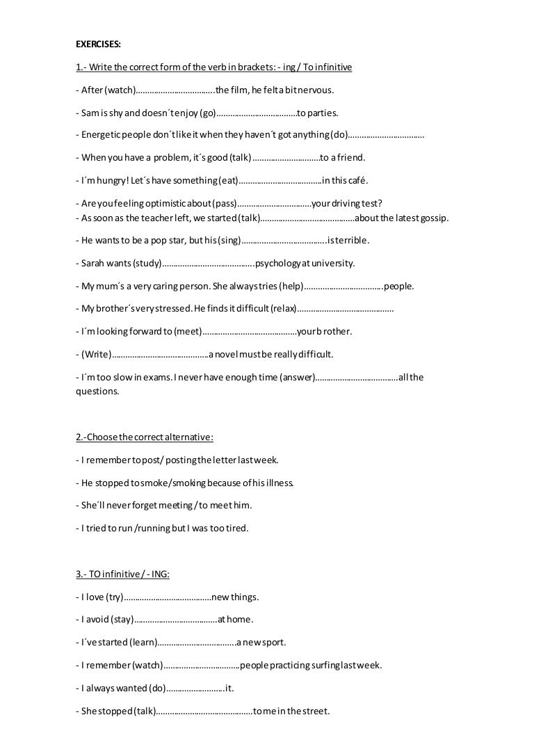 worksheet Gerunds And Infinitives Worksheets gerundandinfinitiveexercises 160428001106 thumbnail 4 jpgcb1461802298