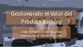Gestionando el Valor del Product Backlog