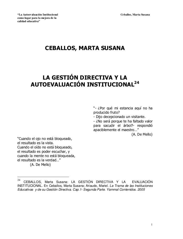 LA GESTIÓN DIRECTIVA Y LA AUTOEVALUACIÓN INSTITUCIONAL