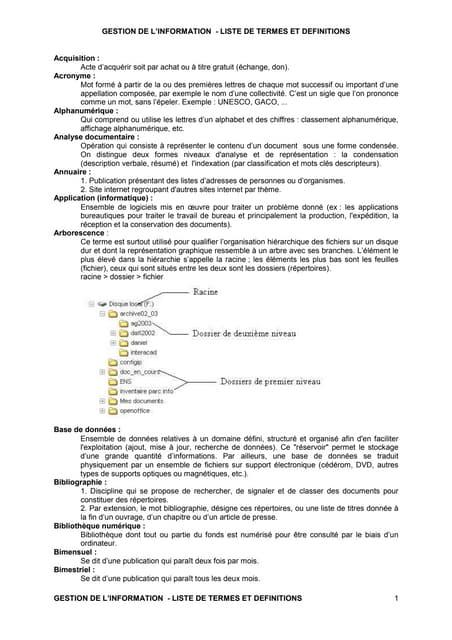 Gestion info lexique