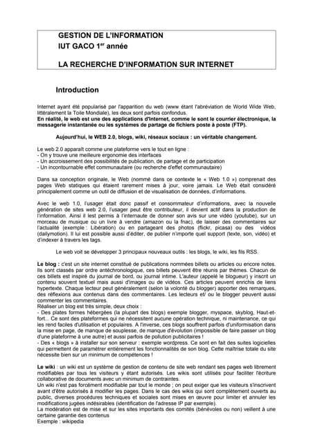 Gestion Info Synthese 2  Rech Doc Net