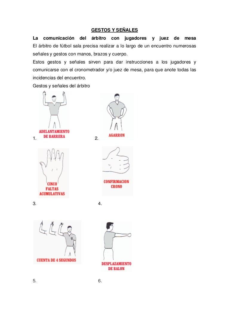 Gestos y señales futsal