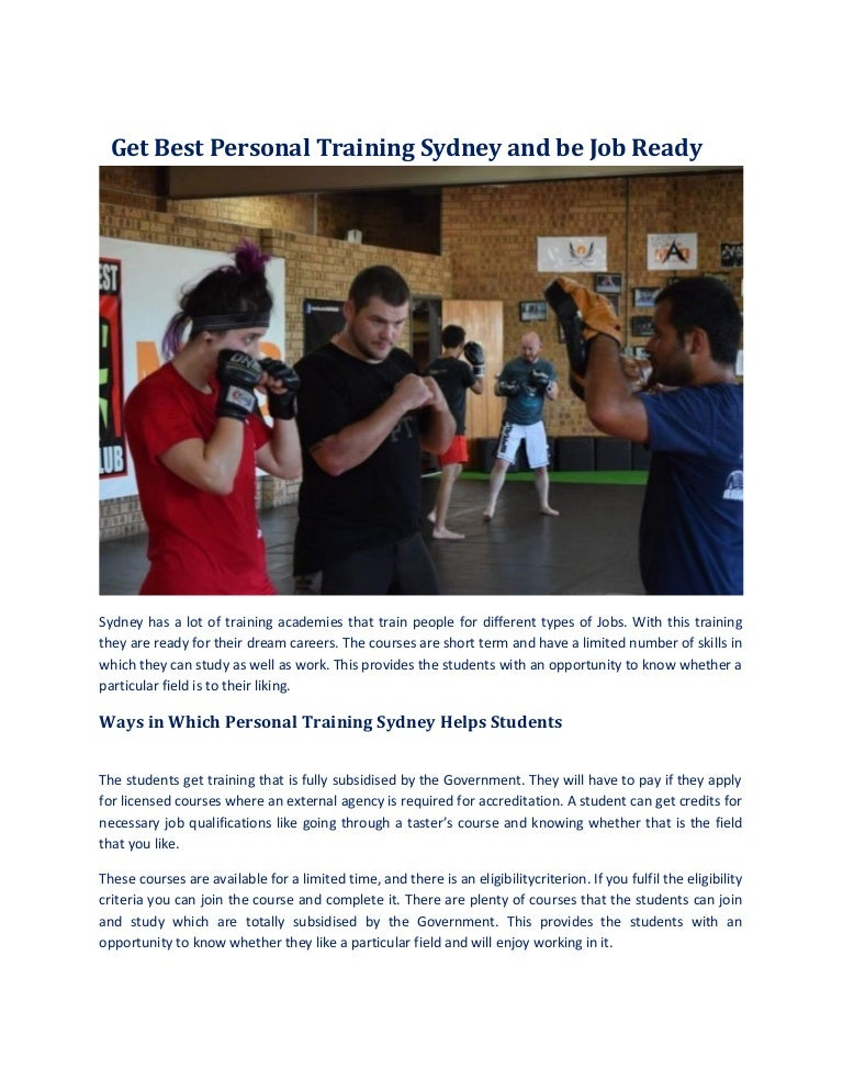 Get Best Personal Training Sydney And Be Job Ready