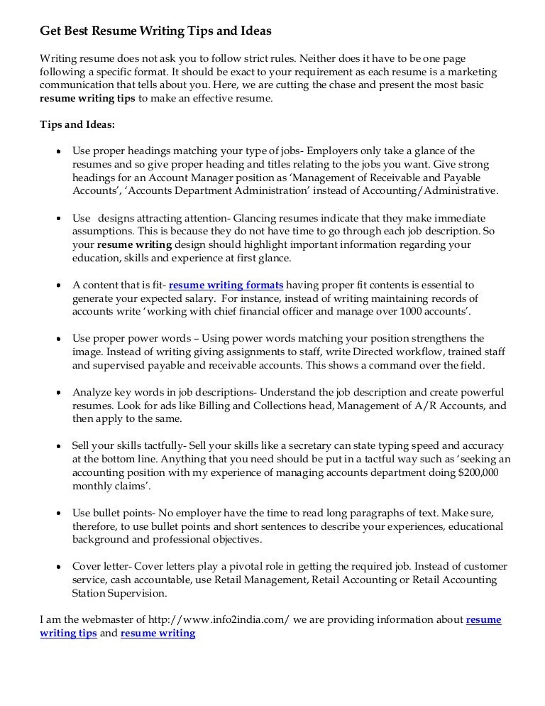 get best resume writing tips and ideas