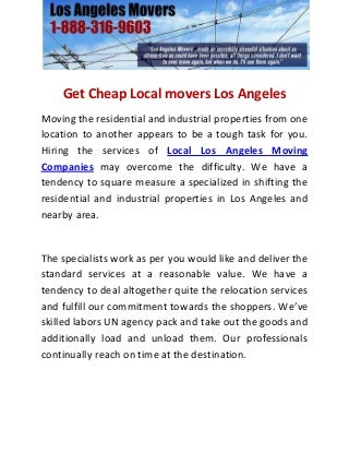 Get cheap local movers los angeles