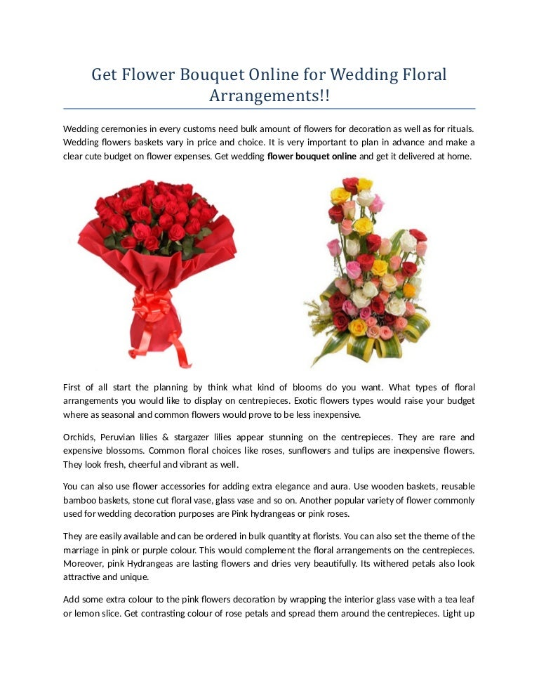Get Flower Bouquet Online For Wedding Floral Arrangements