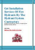 Get installation services of fire hydrants by the hydrant system contractors