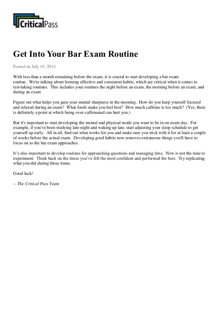 Get Into Your Bar Exam Routine