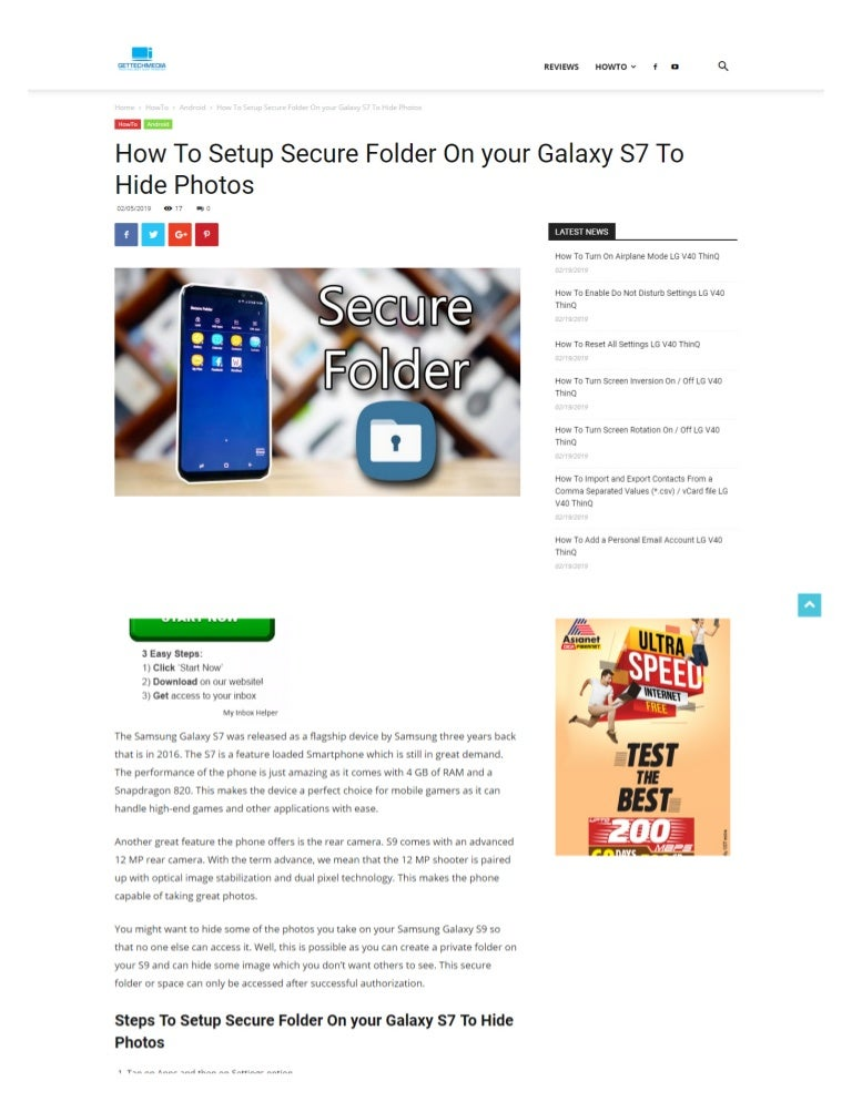 Setup Secure Folder On your Galaxy S7 To Hide Photos
