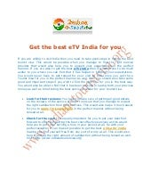Get the best e tv india for you