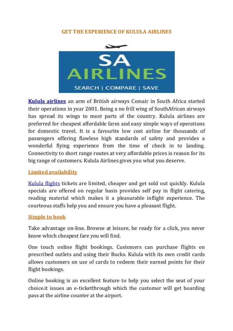 Get The Experience Of Kulula Airlines