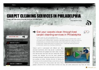 Get your carpets clean through best carpet cleaning services in Philadelphia