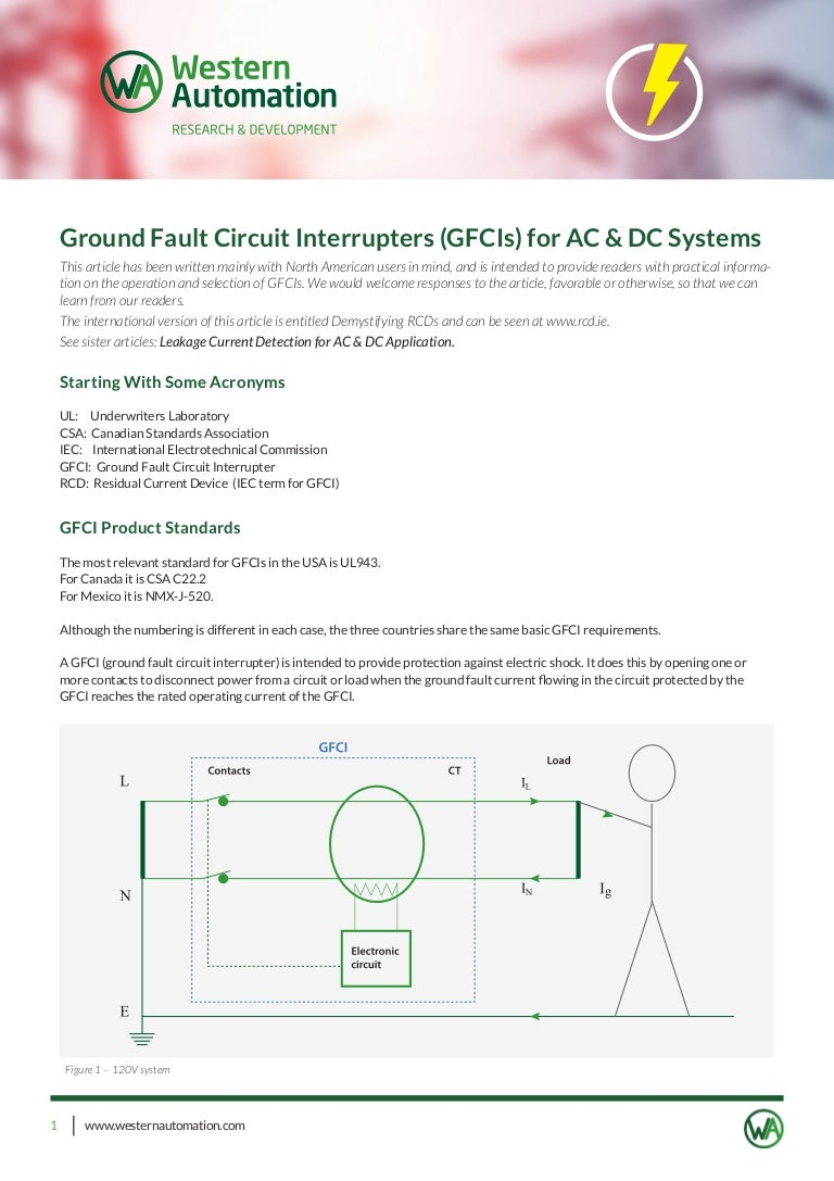 Ground Fault Circuit Interrupters Gfcis For Ac Dc Systems How To Test Interrupter Gfci