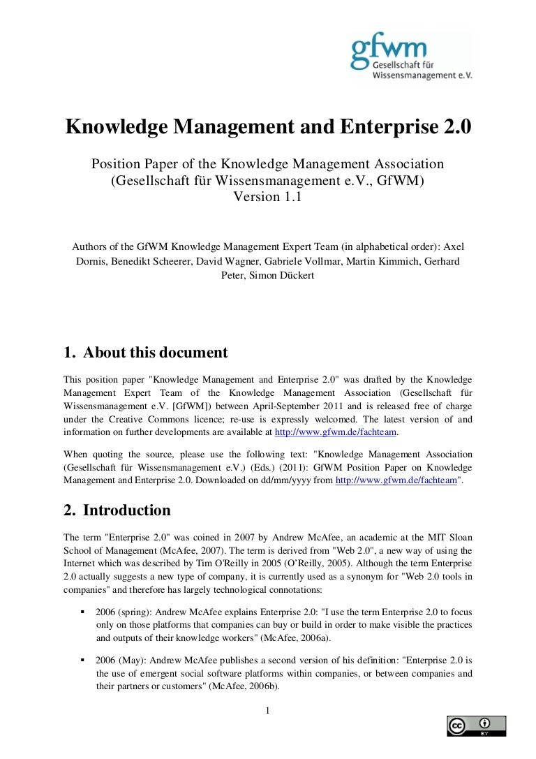 gfwm position paper knowledge management and enterprise