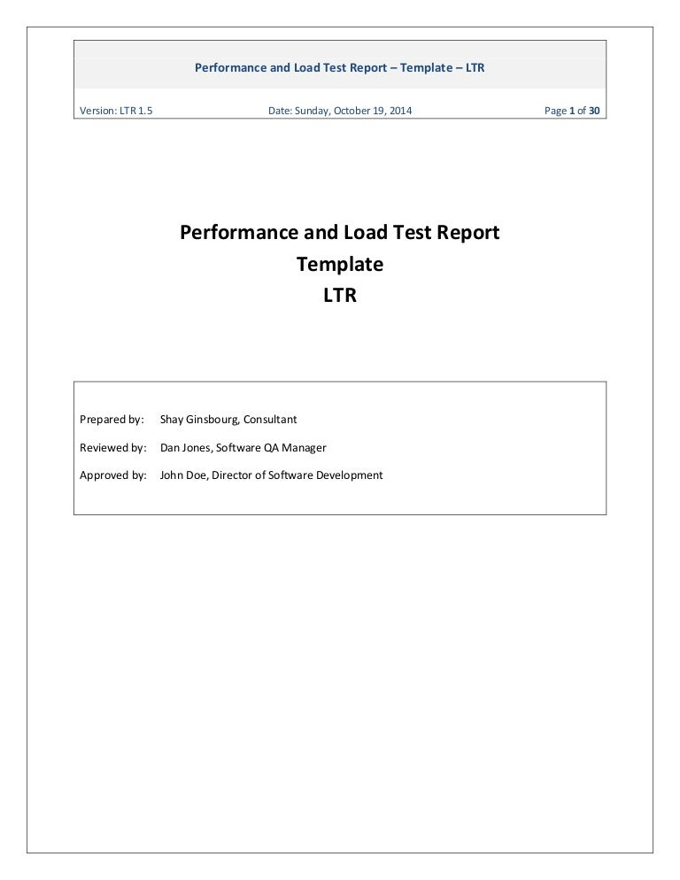 Ginsbourg.Com - Performance And Load Test Report Template Ltr 1.5