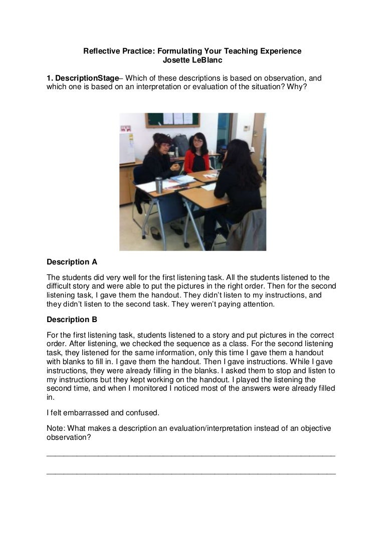 Reflective Practice Formulating Your Teaching Experience Worksheet