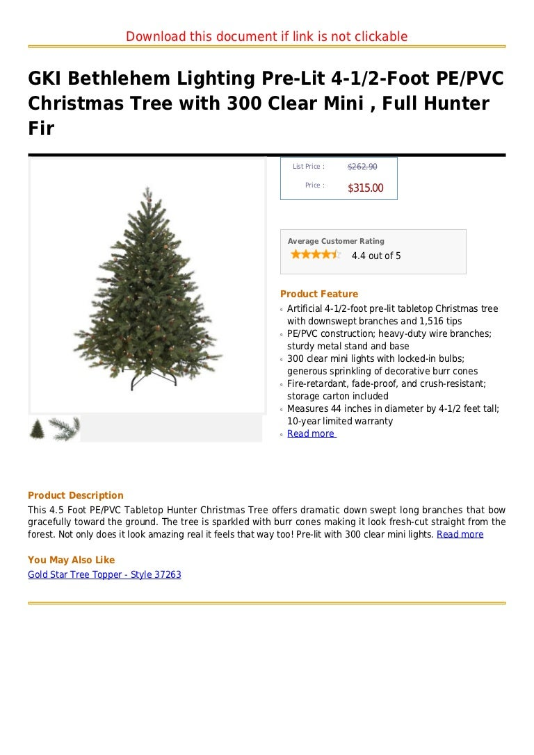 Gki bethlehem lighting pre lit 4-1 2-foot pe pvc christmas ...