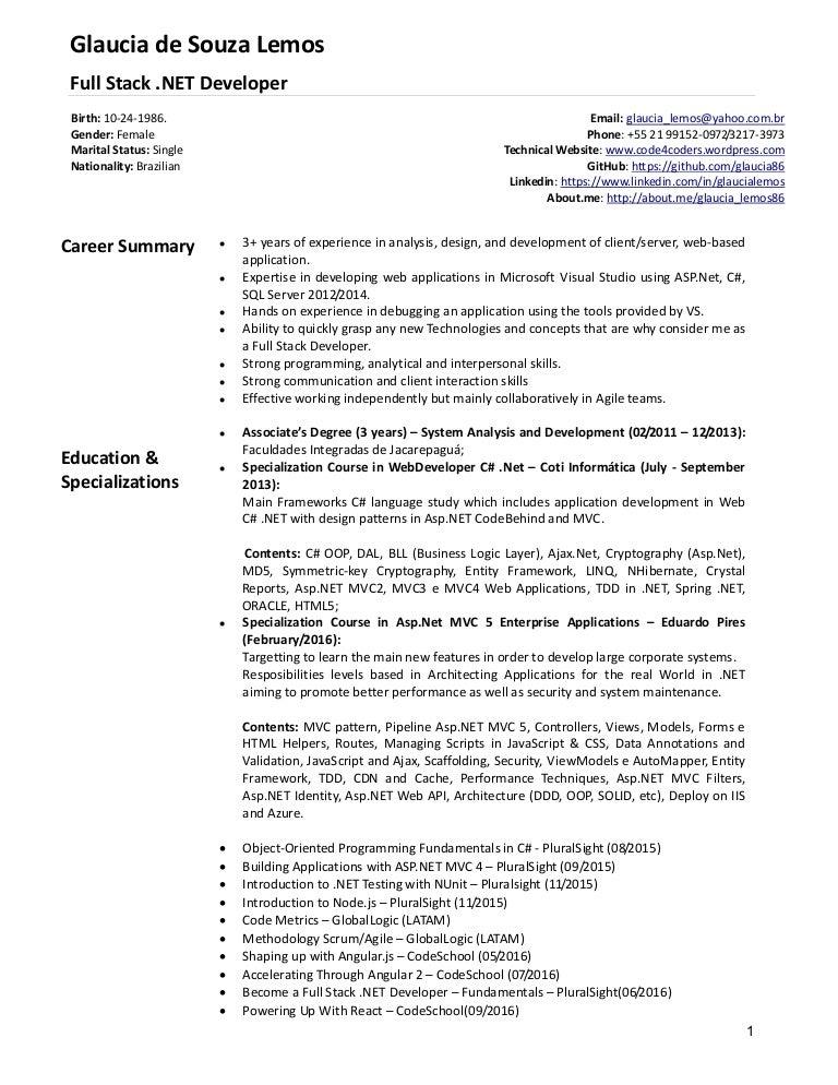 english resume glaucia lemos