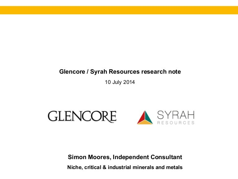Glencore / Syrah Resources (graphite, vanadium) - Research Note