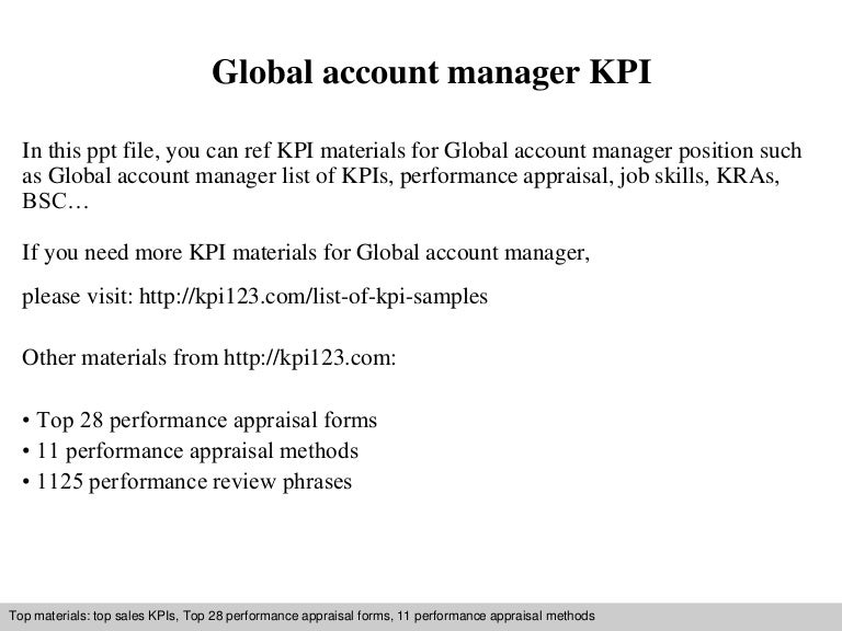 Global Account Manager Kpi