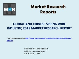 Spring Wire Market Global and Chinese (Value, Cost or Profit) 2020 Forecasts
