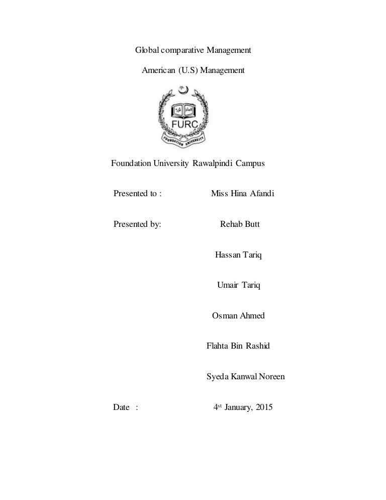 Global Comparative Management Report