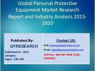 Global personal protective equipment market 2015 industry growth, analysis, research, trends and overview