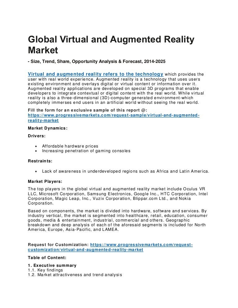 852795a5bdd2 Virtual and Augmented Reality Market Growth in Application