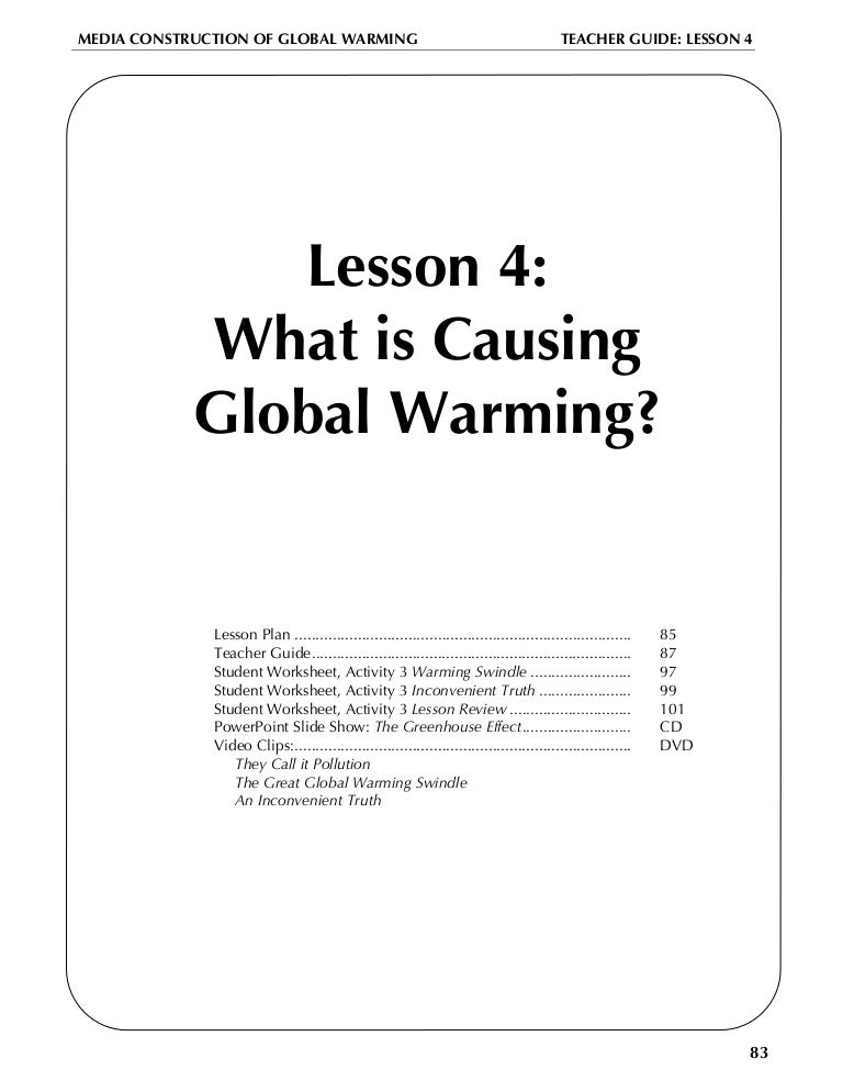 Global warming lesson plan – An Inconvenient Truth Worksheet