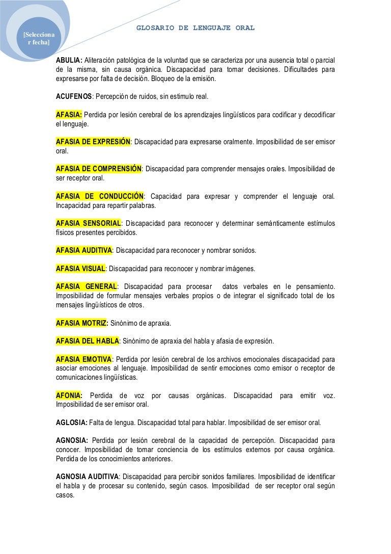 Circuito Del Habla : Glosario de lenguaje oral