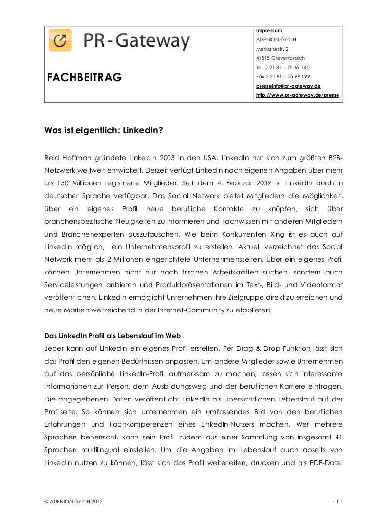 Erfreut Linkedin Profil Im Lebenslauf Ideen - Entry Level Resume ...
