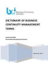 BCM Glossary by BCI