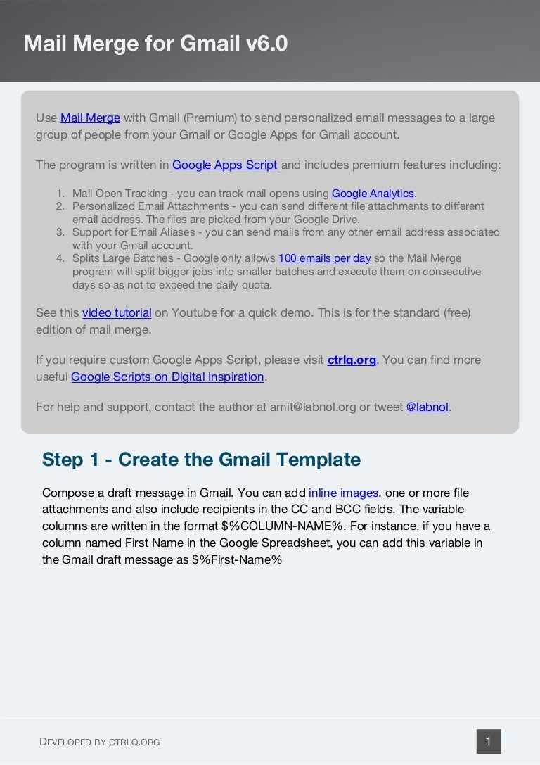 Gmail Mail Merge with Personalized Attachments and Email Tracking