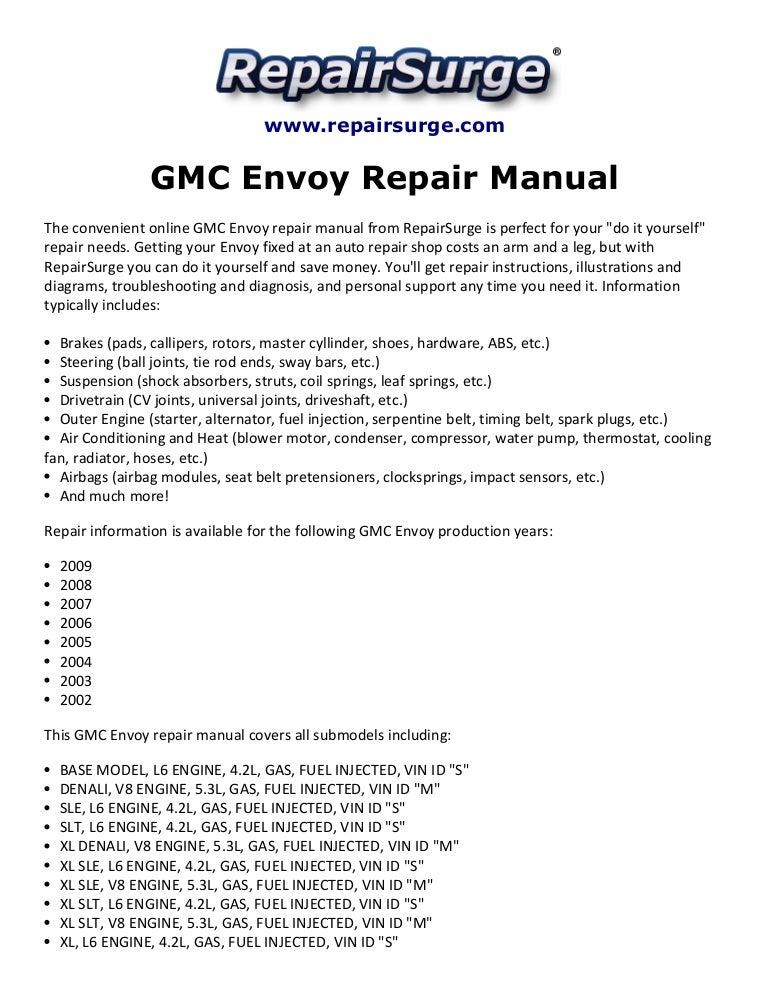 GMC Envoy Repair Manual 2002-2009 | My Diagram Of 2003 Gmc Envoy Xlt Engine |  | SlideShare