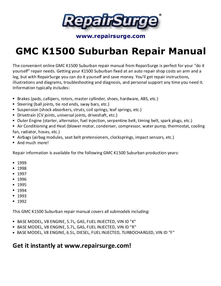 gmc k1500 suburban repair manual 1992 1999 rh slideshare net 1999 gmc sierra 1500 owners manual 1997 GMC Sierra