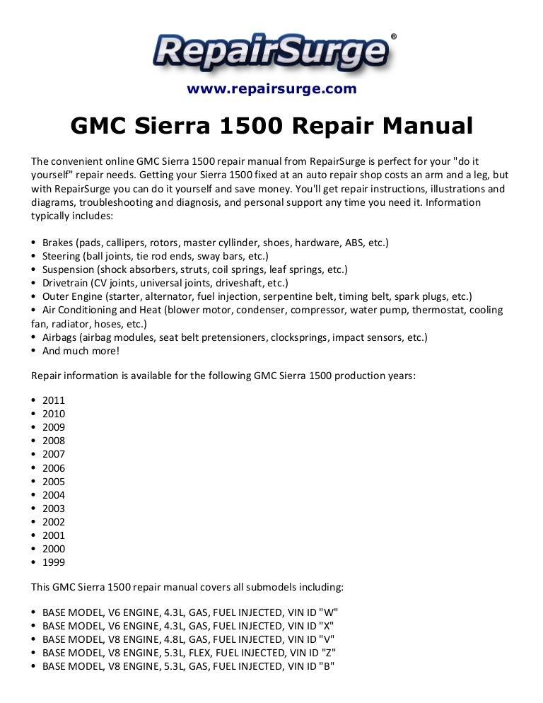 gmc sierra 1500 repair manual 1999 2011 rh slideshare net 2006 gmc sierra 1500 owners manual 2006 gmc sierra owners manual pdf