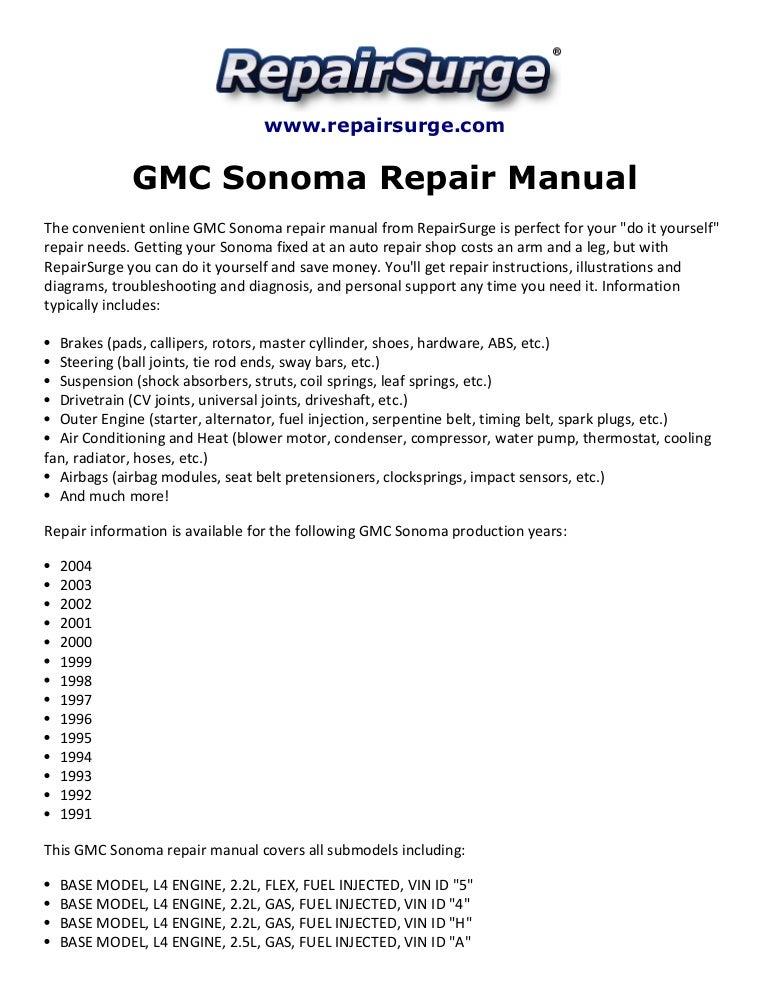 2003 gmc sonoma owners manual basic instruction manual u2022 rh ryanshtuff co 2002 Sonoma Fuel Pump Custom GMC Sonoma