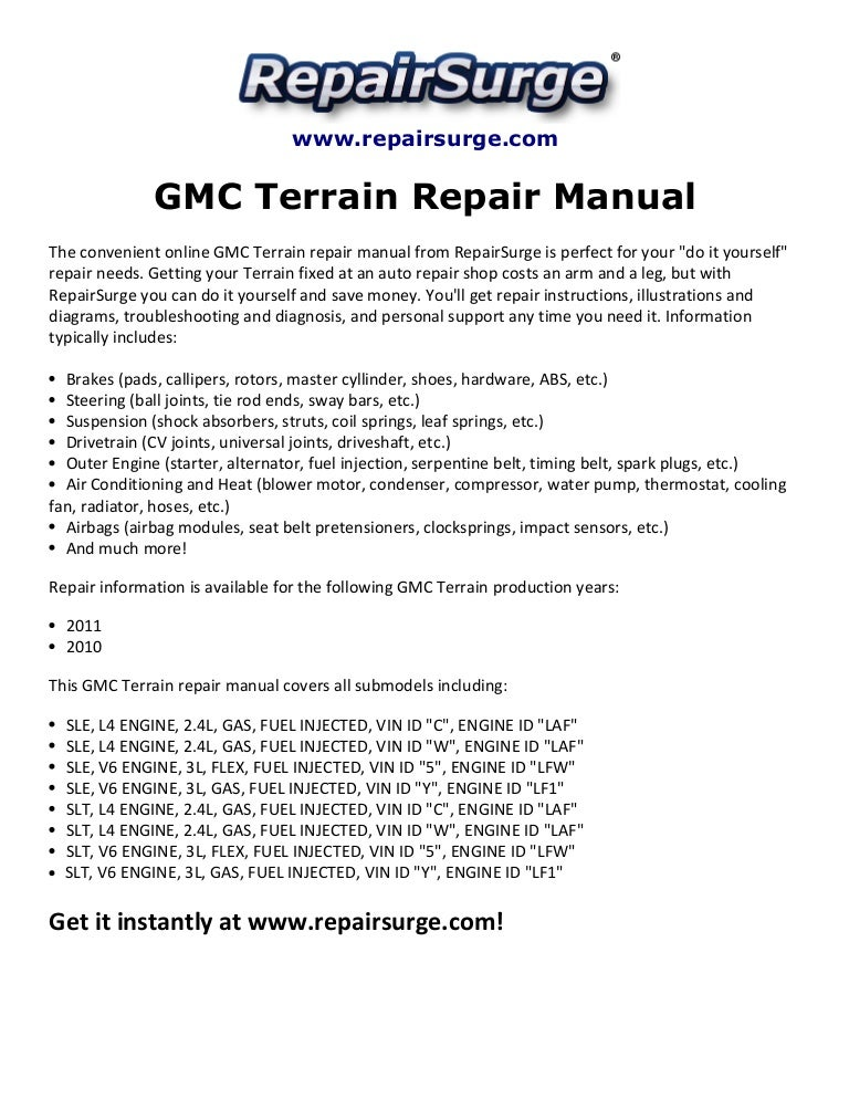 gmc terrain repair manual 2010 2011 rh slideshare net