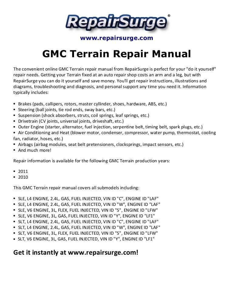 gmc terrain repair manual 2010 2011