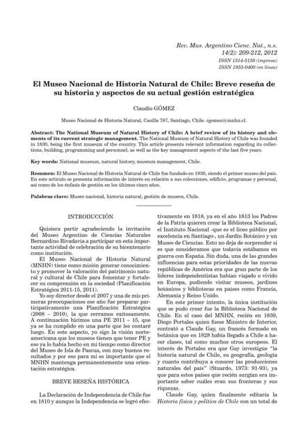 El Museo Nacional de Historia Natural de Chile: Breve reseña de su historia y aspectos de su actual gestión estratégica