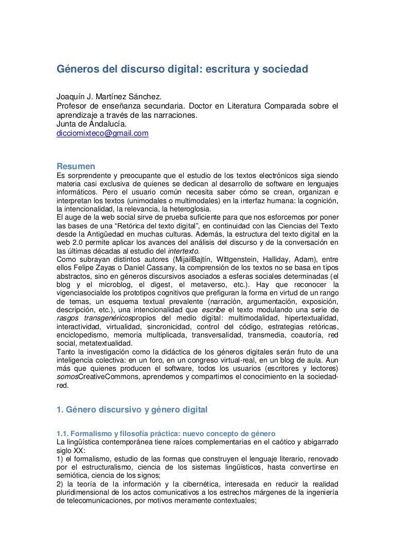Géneros del discurso digital (texto)