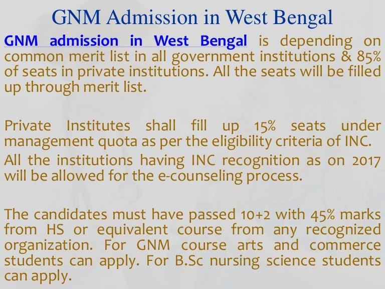 Gnm Nursing Admission In Kolkata