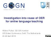 Investigation into reuse of OER for online language teaching