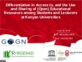 Differentiation in Access to, and the Use and Sharing of (Open) Educational Resources among Students and Lecturers at Kenyan Universities