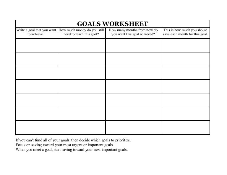 Goals Worksheet – Goals Worksheet