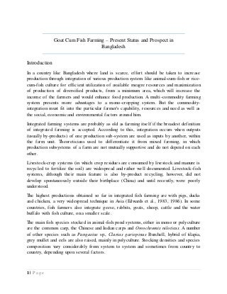 Goat cum Fish Farming - Present Status and Prospect in Bangladesh
