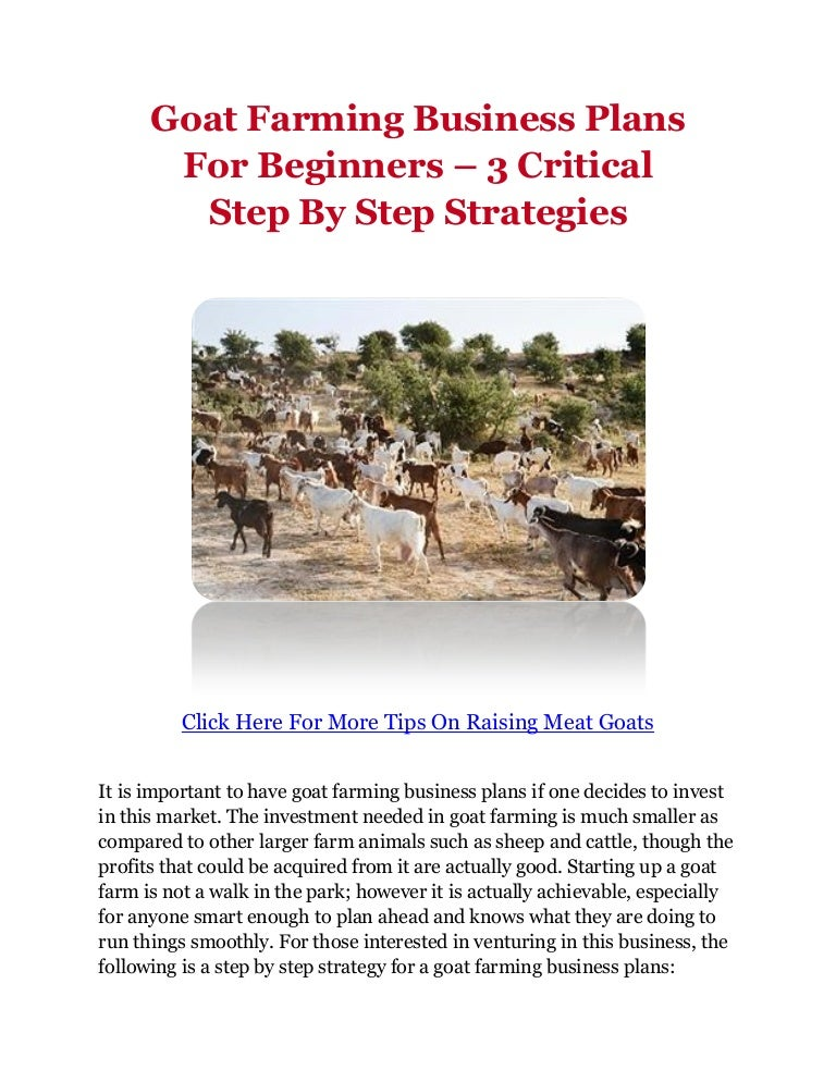 Goat Farming Business Plans For Beginners - 3 Critical Step By Step S…
