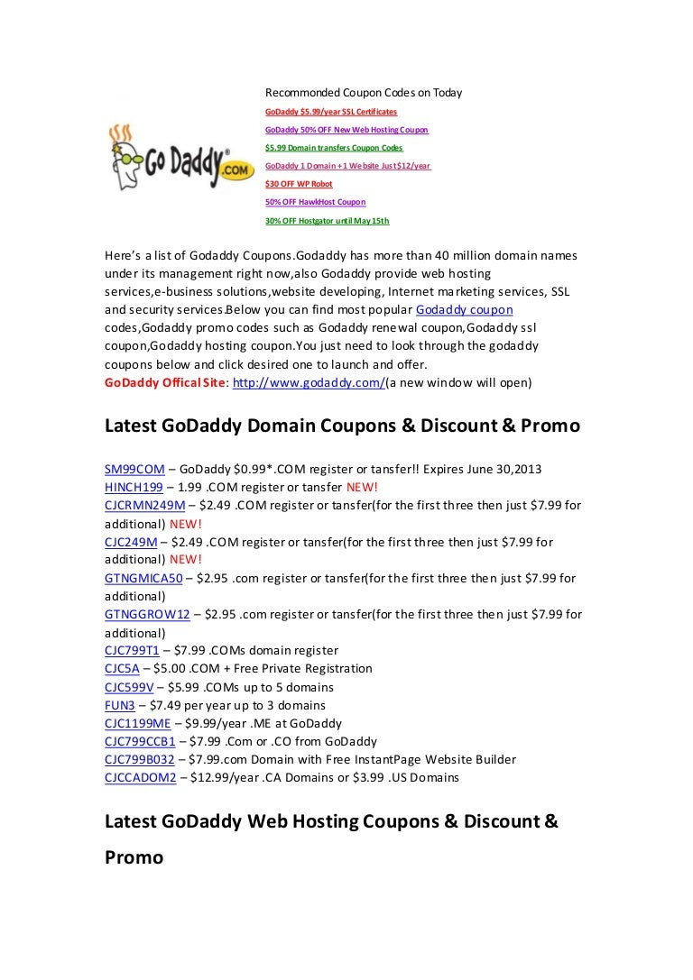 Godaddy Coupons 99 Cents