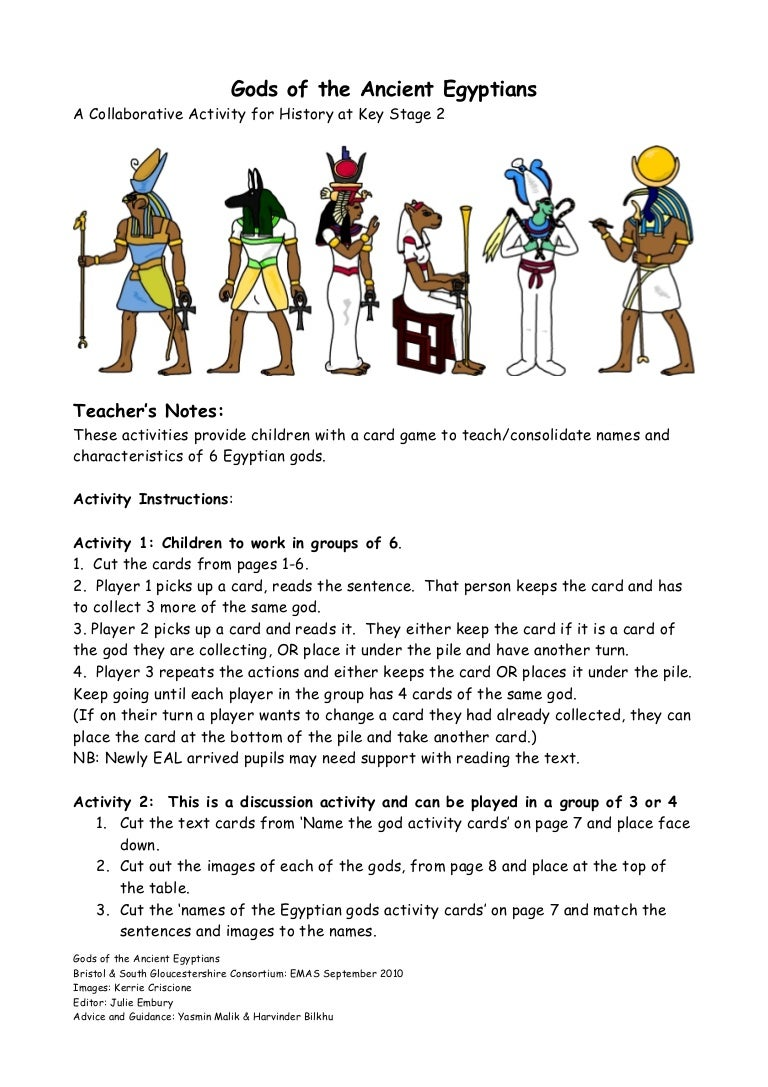 gods of the ancient egyptians worksheet