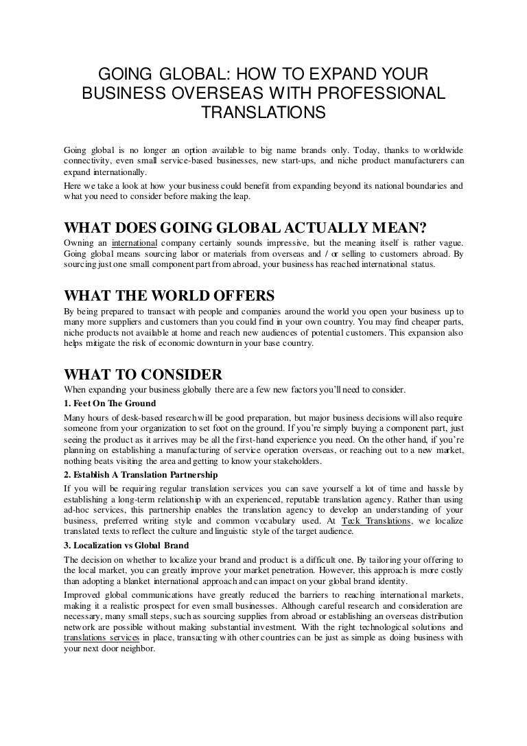 Going global how to expand your business overseas with professional t…